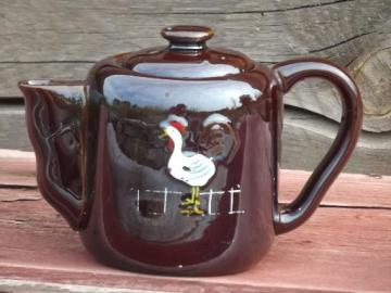 rooster crowing vintage handpainted Japan redware teapot for morning tea