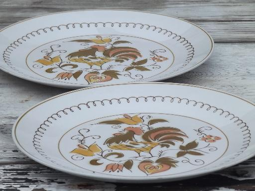 & rooster dinner plates vintage Mikasa Tamago chicken pattern china