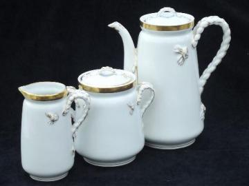 rope and anchor antique 19th century Haviland Limoges porcelain tea coffee set