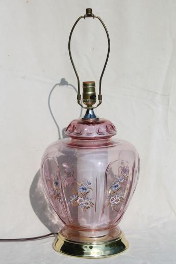 Well known rose glow pink glass bedside table lamp w/ lighted base, 80s vintage QI63