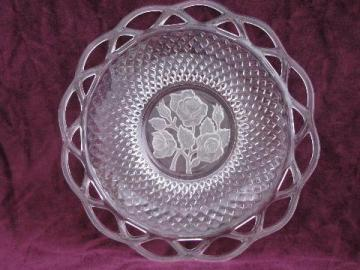 rose intaglio center lace edge Imperial glass plate, 50s-60s vintage