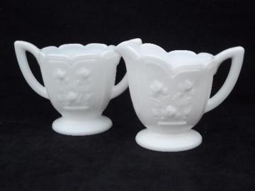 rose leaf milk glass cream pitcher and sugar set, vintage Imperial glass