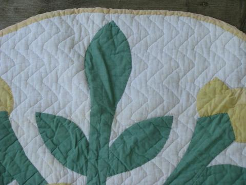 rose of sharon vintage applique patchwork quilted cotton rug or mat