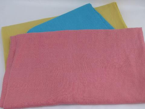 rose pink / aqua / butter yellow linen weave cotton, rayon blend fabric lot