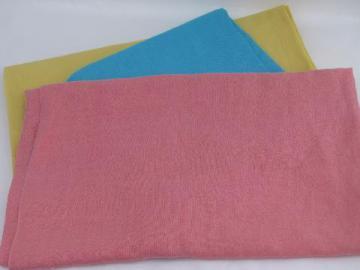 rose pink / aqua / butter yellow linen weave cotton, rayon blend fabric lot