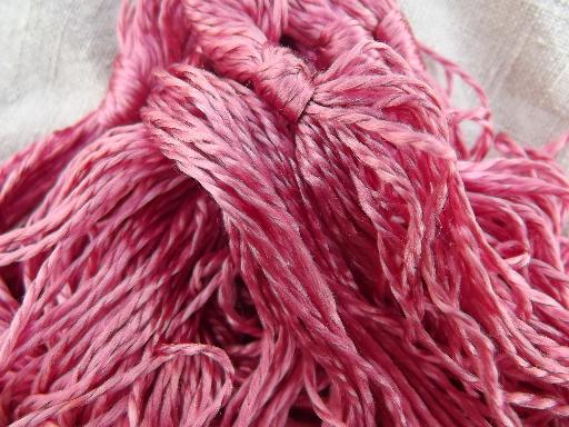 rose pink artificial silk embroidery thread, antique silky rayon floss