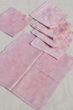 rose pink cotton damask cloth luncheon napkins, vintage fabric napkin set