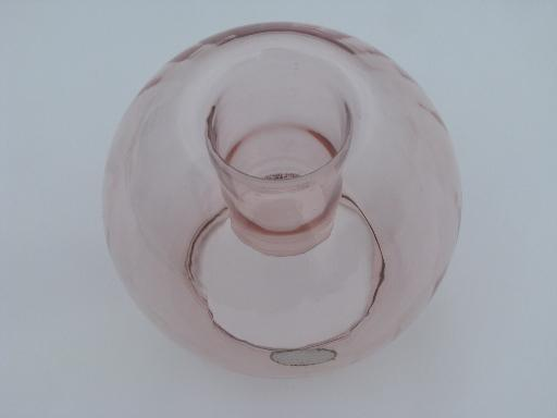 rose pink flower / candle bowl vase, hand-blown glass L E Smith label