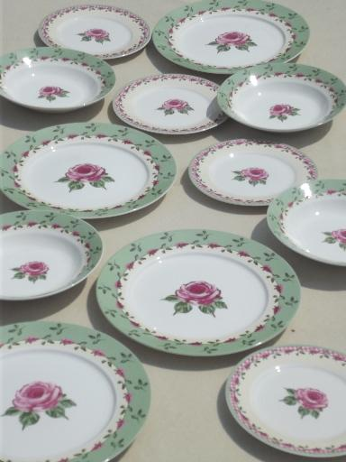 & rose \u0026 pink gingham pattern dishes Home Trends china dinnerware set