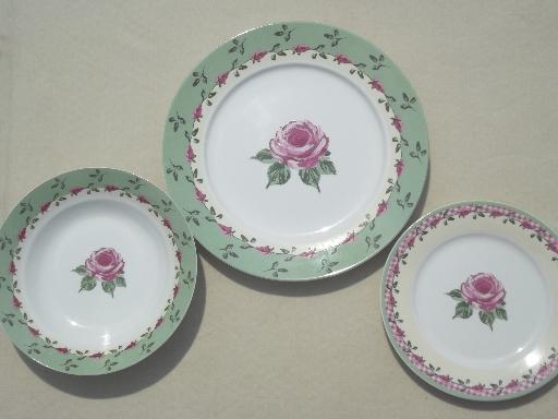 & rose u0026 pink gingham pattern dishes Home Trends china dinnerware set