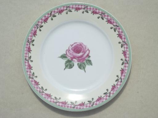 Rose Amp Pink Gingham Pattern Dishes Home Trends China