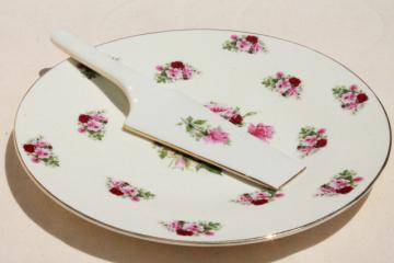rose sprig Baum Bros China cake plate & dessert server, vintage cottage style