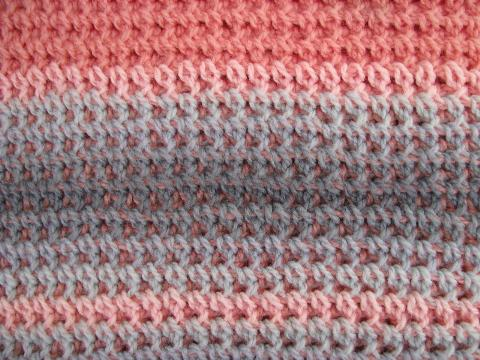 Rose Pink Grey Vintage Crochet Afghan Lap Blanket Throw