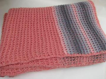 rose-pink / grey, vintage crochet afghan lap blanket throw
