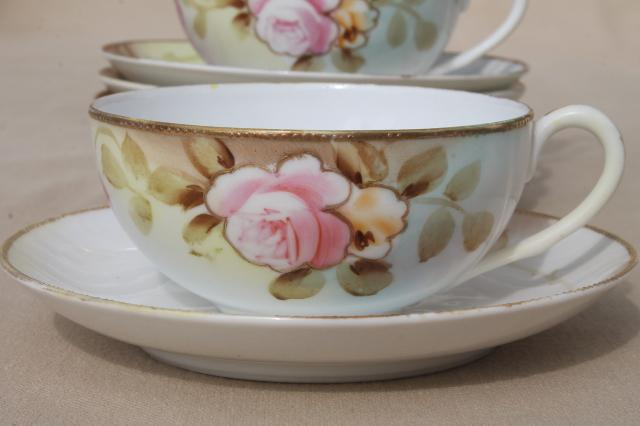 roses & gold moriage hand painted Nippon china, antique vintage tea ...