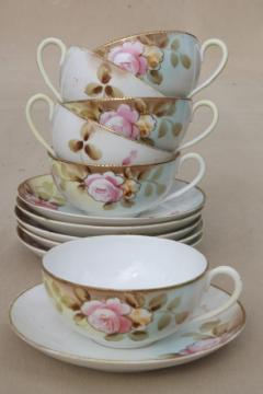 roses & gold moriage hand painted Nippon china, antique vintage tea cups & saucers