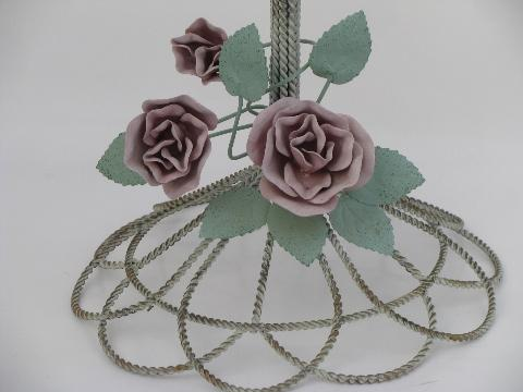 Roses Tole Metal Wire Hat Or Bonnet Stand, Tabletop Display Rack