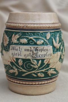 rough old stoneware beer stein, tavern cup w/ motto in German