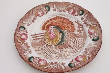round Thanksgiving turkey plate, vintage Japan multicolored transferware china