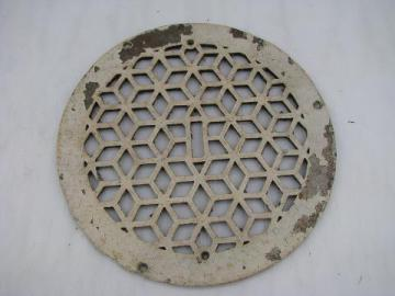 round antique architectural heating register grate or grill, arts & crafts mission vintage