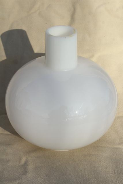 round globe chimney shade, vintage milk glass lampshade for GWTW hurricane lamp