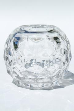round ivy ball or rose bowl vase, vintage Fostoria American pattern glass<br>