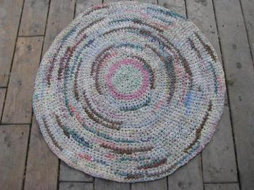 round vintage 1930's cotton rag rug, hand-crocheted