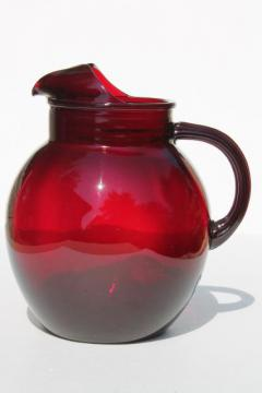 royal ruby red glass pitcher, vintage Anchor Hocking glass round ball pitcher