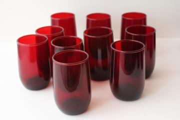 royal ruby red glass roly poly tumblers, Anchor Hocking juice glasses set of 10