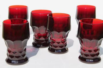 royal ruby red glass tumblers, set of six drinking glasses, vintage Anchor Hocking Georgian