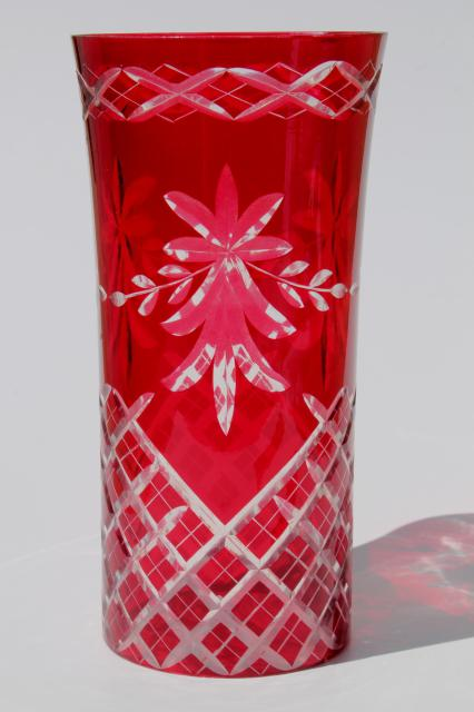 Ruby cut to clear glass lamp chimney red glass hurricane lampshade mozeypictures Gallery