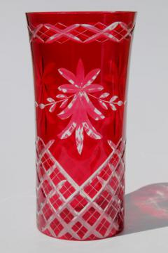 ruby cut to clear glass lamp chimney, red glass hurricane lampshade