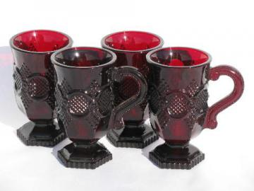 ruby red glass Avon Cape Cod, 4 vintage tall cups, footed mugs