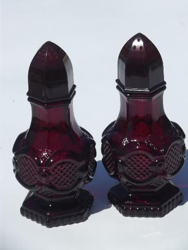 Ruby Red Glass Cape Cod Pattern Avon Salt Pepper Shakers Sp Set