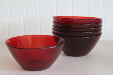 ruby red glass France Cristal d'Arques Color Program modern vintage salad or dessert bowls