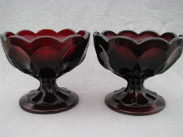 ruby red glass, pair of candy dishes