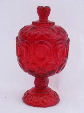 ruby red vintage Moon & Stars pattern glass candy dish, wedding bowl w/ lid