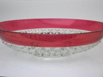 ruby stain diamond point glass salad or spaghetti bowl, vintage Indiana glass