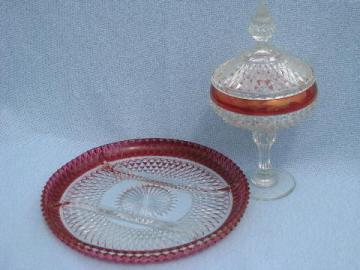 ruby stain red flash diamond point pattern glass, tray & candy dish