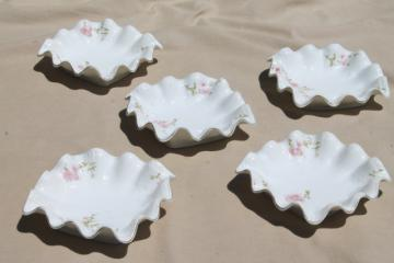 ruffled edge vintage china bowls or candy dishes, antique Austria porcelain