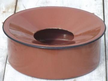 rust red antique enamelware spittoon w/ primitive old enamel pan shape