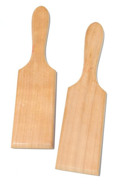 rustic Italian wooden butter paddles or gnocchi board set, wood pasta tools