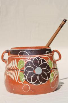 rustic Mexican terracotta pottery pot & hand carved wood chocolate stirrer whisk