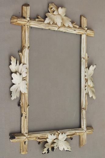 Rustic Antique Adirondack Carved Wood Picture Frame Eastlake Twig