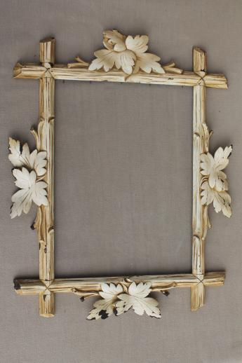 rustic antique Adirondack carved wood picture frame, Eastlake twig & leaf frame w/ shabby paint