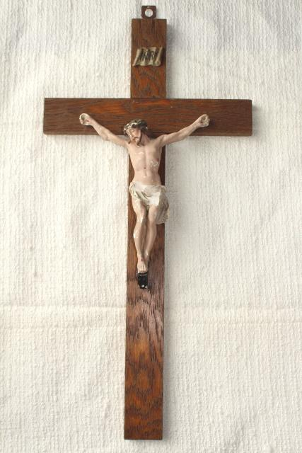 Rustic Antique Crucifix Old Oak Wood Cross W Shabby Beautiful