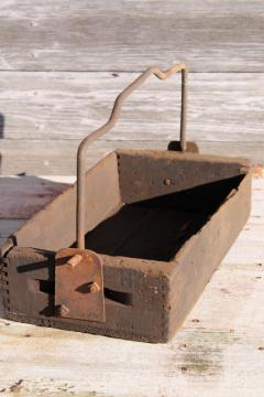 rustic barn wood tote box carrier w/ heavy forged iron handle, primitive farm toolbox