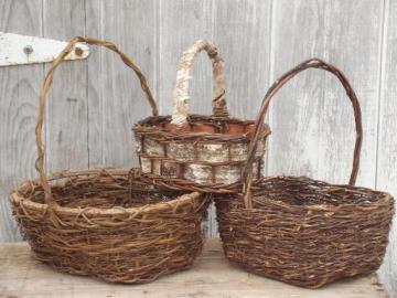 rustic baskets lot, woodland style bark & twig  woven wicker baskets
