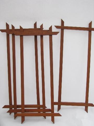 rustic camp vintage solid oak picture frames, laced needlework ...