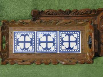 rustic carved wood trays w/ blue and white hand-painted Mexican tiles
